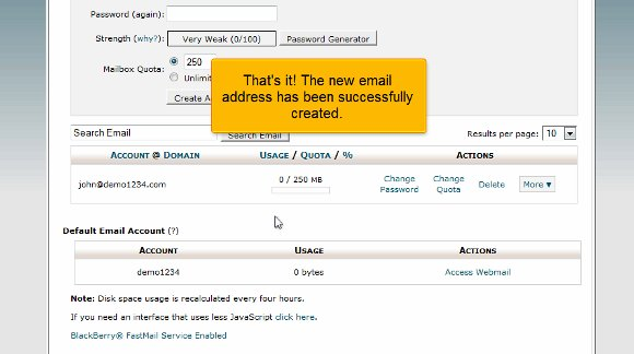 cPanel Email Created